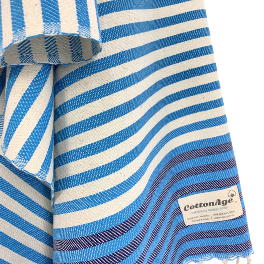 Turkish Towel, CottonAge Oxford Series, 350g, Turquoise-Navy