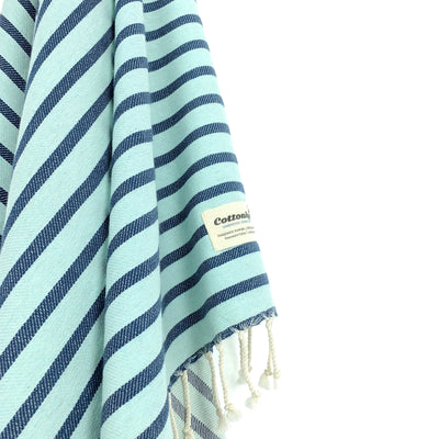 Turkish Towel, CottonAge Oxford Series, 350g, Mint-Navy