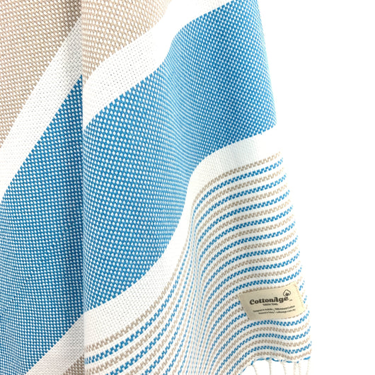 Turkish Towel, CottonAge Esperance Series, 420g, Beige-Turquoise