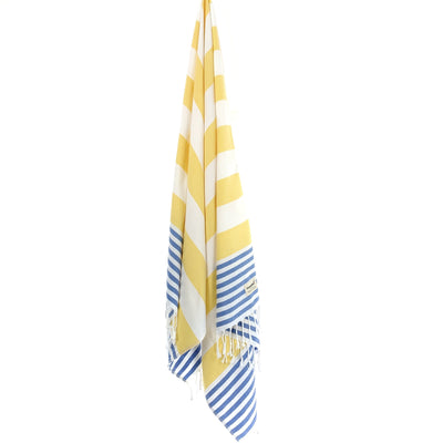Turkish Towel, CottonAge Aquamarine Series, 375g, Yellow-Sky Blue