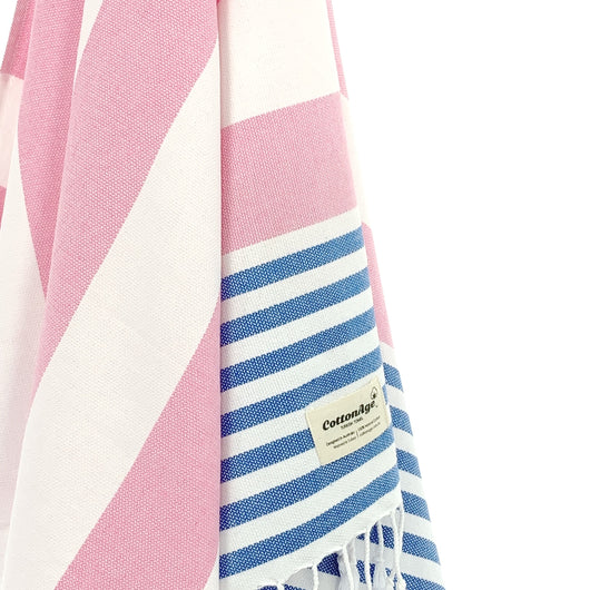 Turkish Towel, CottonAge Aquamarine Series, 375g, Pink-Sweet Blue