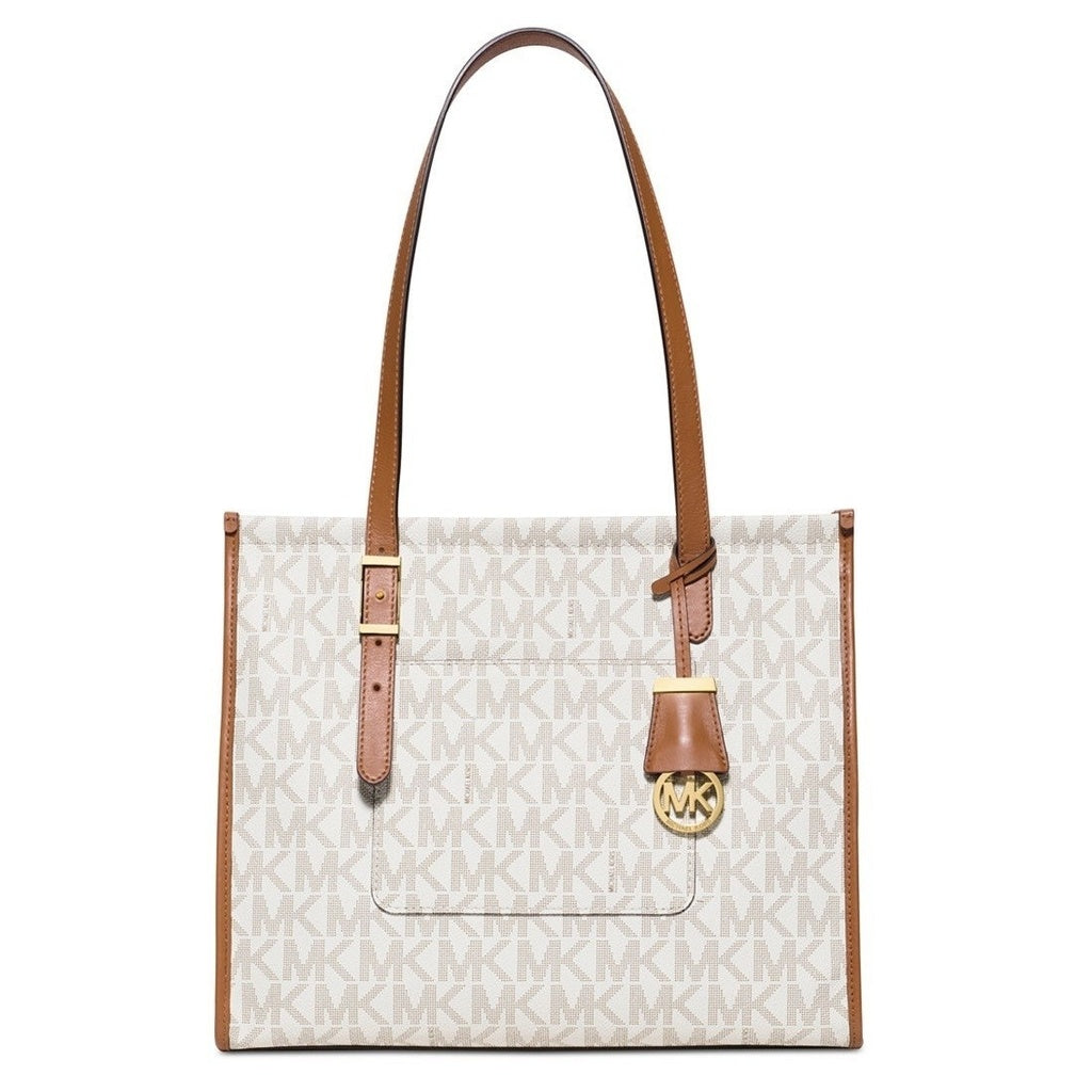 6be91fd9e6a5 ... discount code for michael kors darien medium vanilla acorn logo tote bag  a1300 b81a9