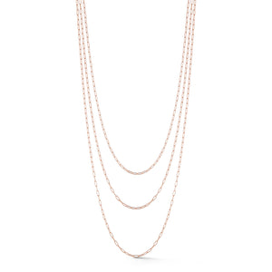 CHAIN 4 - 18K ROSE GOLD ELONGATED LINK CHAIN NECKLACE, 2.6mm