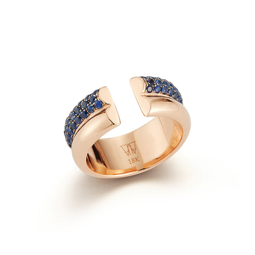 THOBY 18K ROSE GOLD AND BLUE SAPPHIRE 2 ROW TUBULAR RING