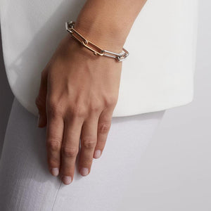 SAXON TWO TONE ELONGATED CHAIN LINK BRACELET