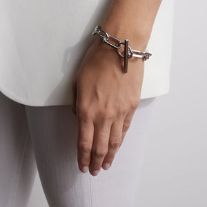 SAXON STERLING SILVER JUMBO CHAIN LINK TOGGLE BRACELET