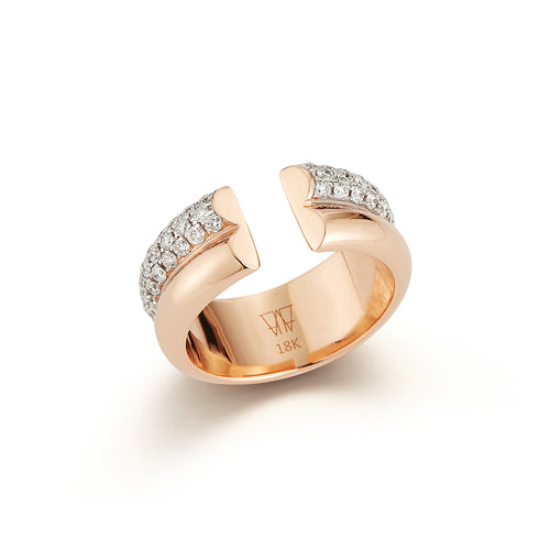 THOBY 18K ROSE GOLD AND WHITE DIAMOND 2 ROW TUBULAR RING