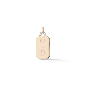 DORA 18K GOLD AND DIAMOND RECTANGULAR TABLET CHARM