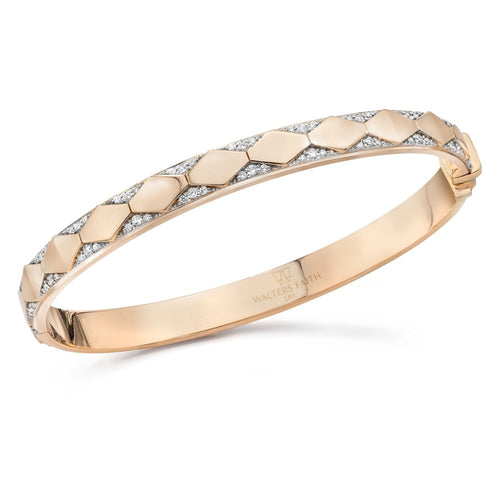 QUENTIN 18K DIAMOND HEXAGON PATTERN HINGED BANGLE