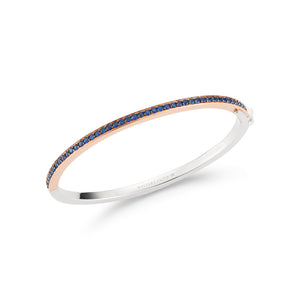 GRANT 3MM 18K TWO TONE ALL DIAMOND AND SAPPHIRE HINGED BANGLE