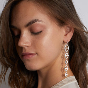 KEYNES STERLING SILVER FIVE DROP SIGNATURE HEXAGON EARRING