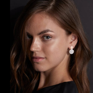 LYTTON 18K ROSE GOLD AND BOTTOM DIAMOND DISC EARRINGS