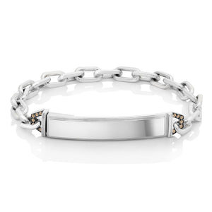CARRINGTON STERLING SILVER CHAMPAGNE DIAMOND ID BAR LINK BRACELET