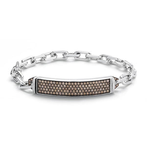 CARRINGTON SILVER & CHAMPAGNE DIAMOND ID BAR BRACELET