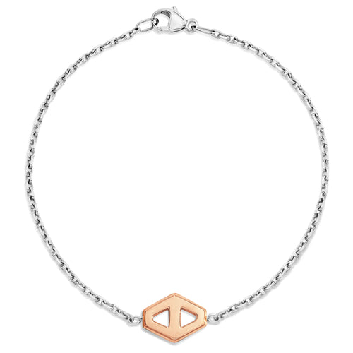 KEYNES TWO TONE SMALL SIGNATURE HEXAGON BRACELET