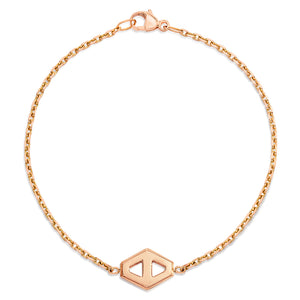KEYNES 18K ROSE GOLD SMALL SIGNATURE HEXAGON BRACELET