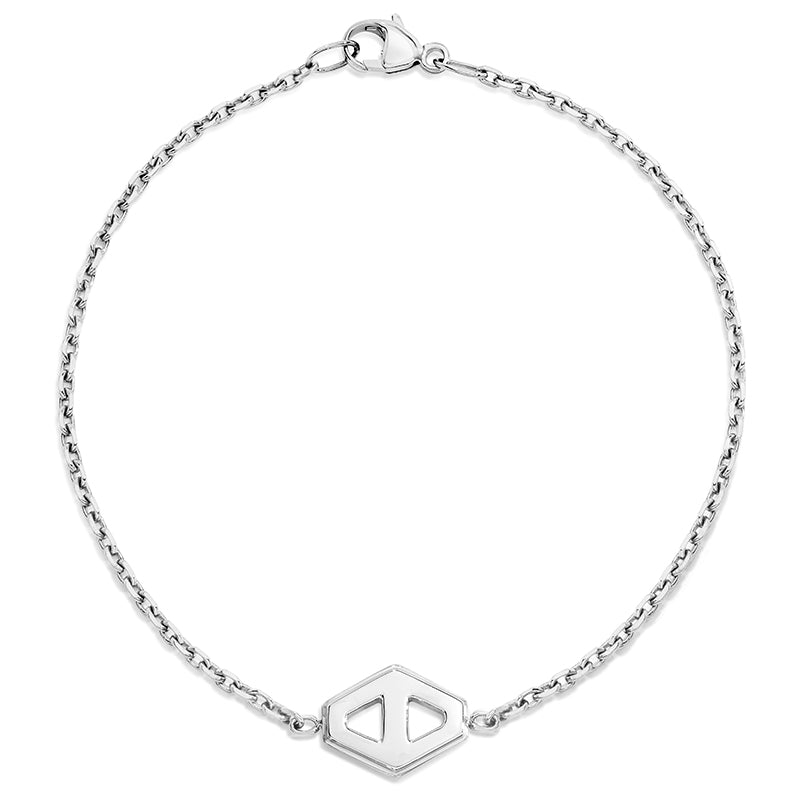 KEYNES STERLING SILVER SMALL SIGNATURE HEXAGON BRACELET