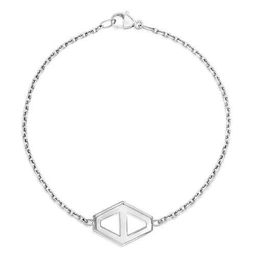 KEYNES STERLING SILVER MEDIUM SIGNATURE HEXAGON BRACELET