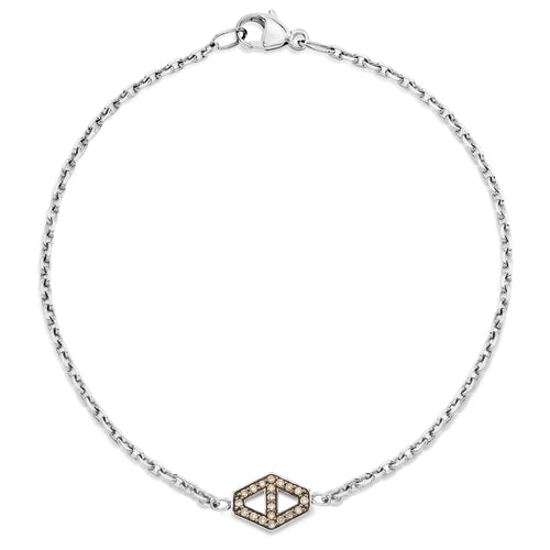 KEYNES STERLING SILVER SMALL SIGNATURE CHAMPAGNE DIAMOND HEXAGON BRACELET