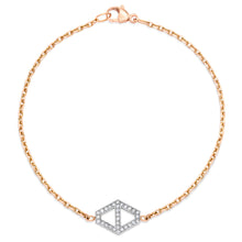 KEYNES 18K MEDIUM SIGNATURE DIAMOND HEXAGON BRACELET