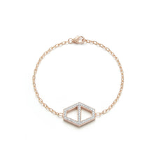 KEYNES 18K ROSE GOLD CHAIN AND DOUBLE SIDED WHITE GOLD WHITE DIAMOND LARGE HEXAGON BRACELET