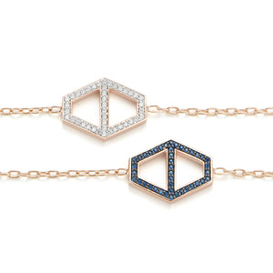 KEYNES 18K ROSE GOLD LARGE DOUBLE SIDED WHITE GOLD WHITE DIAMOND AND SAPPHIRE HEXAGON CHAIN BRACELET
