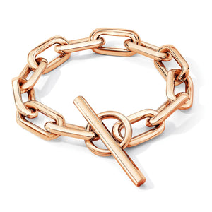 SAXON 18K ROSE GOLD JUMBO CHAIN LINK TOGGLE BRACELET
