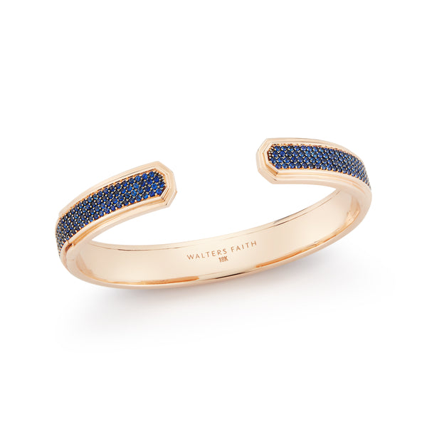 CARRINGTON 18K ROSE GOLD 4 ROW BLUE SAPPHIRE CUFF