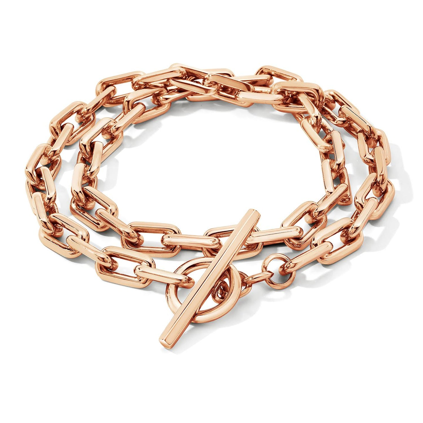 SAXON 18K DOUBLE WRAP CHAIN LINK TOGGLE BRACELET