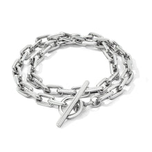 SAXON STERLING SILVER DOUBLE WRAP CHAIN LINK TOGGLE BRACELET
