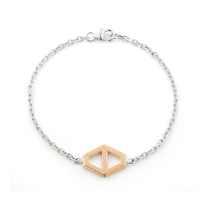 KEYNES TWO TONE MEDIUM SIGNATURE HEXAGON BRACELET