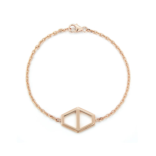 KEYNES 18K ROSE GOLD LARGE SIGNATURE HEXAGON BRACELET