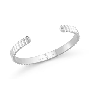 CLIVE 18K 5mm FLUTED CUFF WITH DIAMONDS