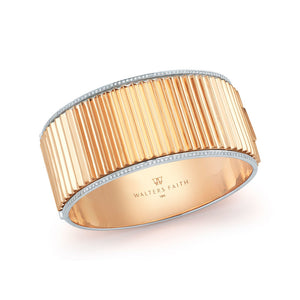 CLIVE 18K TWO TONE DIAMOND FLUTED HINGED BANGLE