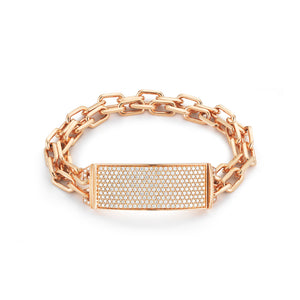 "CARRINGTON 18K ROSE GOLD & ALL DIAMOND 2"" ID BAR WITH DOUBLE ROW CHAIN BRACELET"