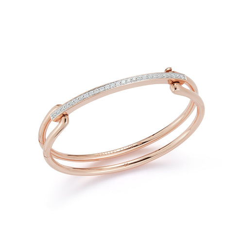 GRANT 18K ROSE GOLD ELONGATED LINK CUFF WITH DIAMOND BAR