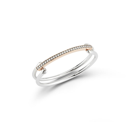 GRANT 18K TWO TONE DIAMOND HINGED DOUBLE BAR BANGLE