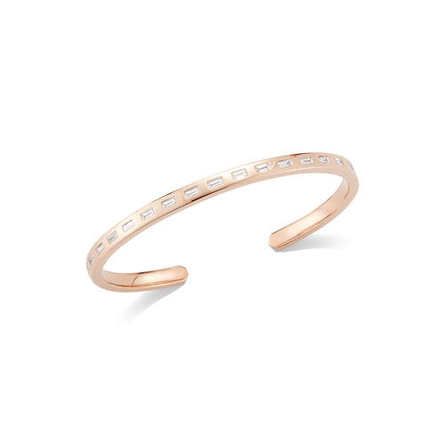 OTTOLINE 18K ROSE GOLD DIAMOND BAGUETTE CUFF
