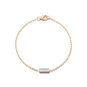 GRANT 18K ROSE GOLD AND 4 DIAMOND BAR BRACELET
