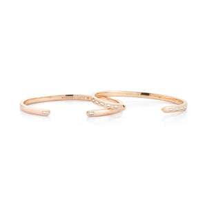 Ottoline 3.5mm 18K Rose Gold 2 Diamond Baguette Cuff