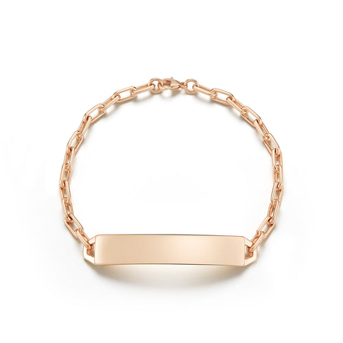 CARRINGTON 18K ROSE GOLD ID BAR BRACELET