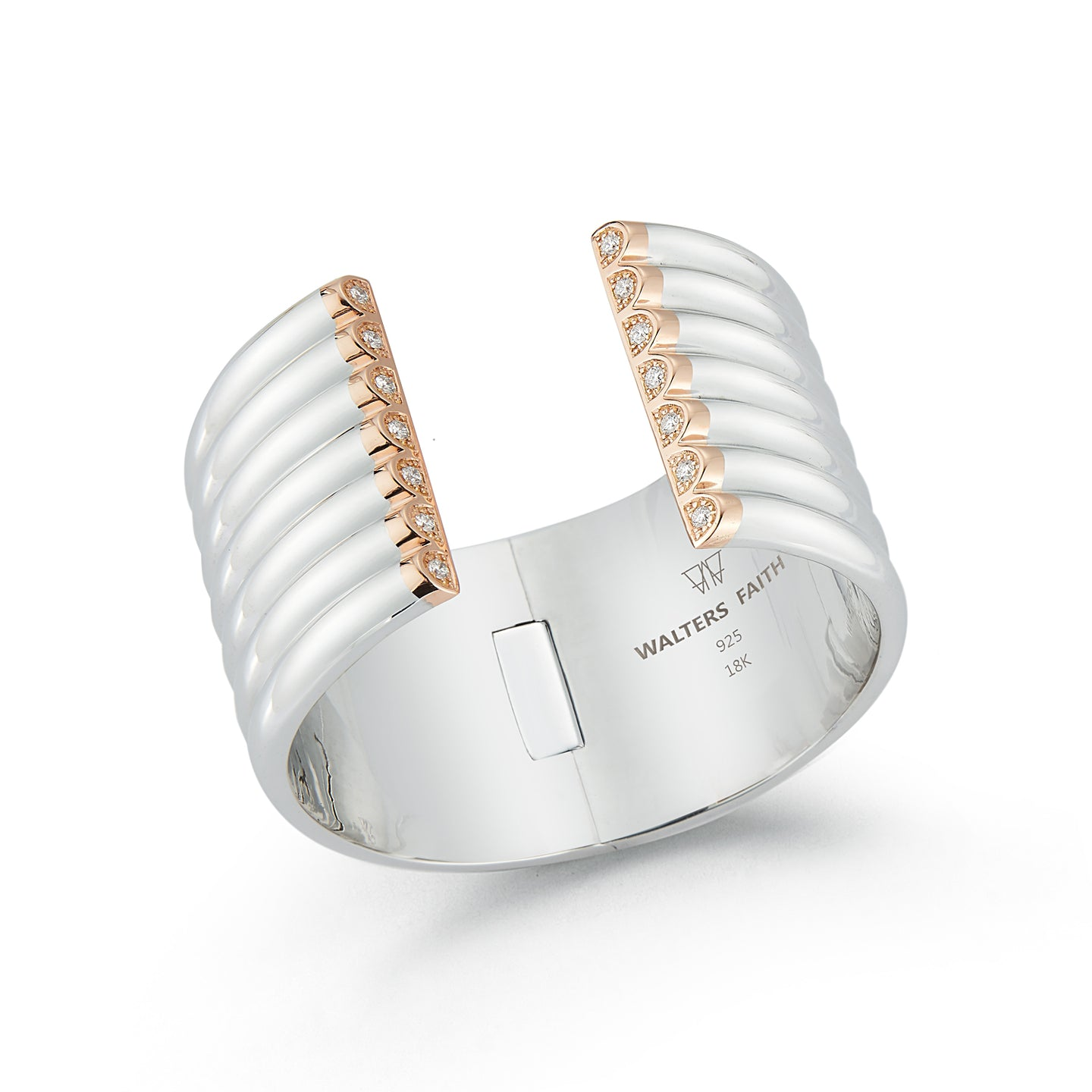 THOBY TWO TONE AND DIAMOND 42MM 7 ROW TUBULAR CUFF