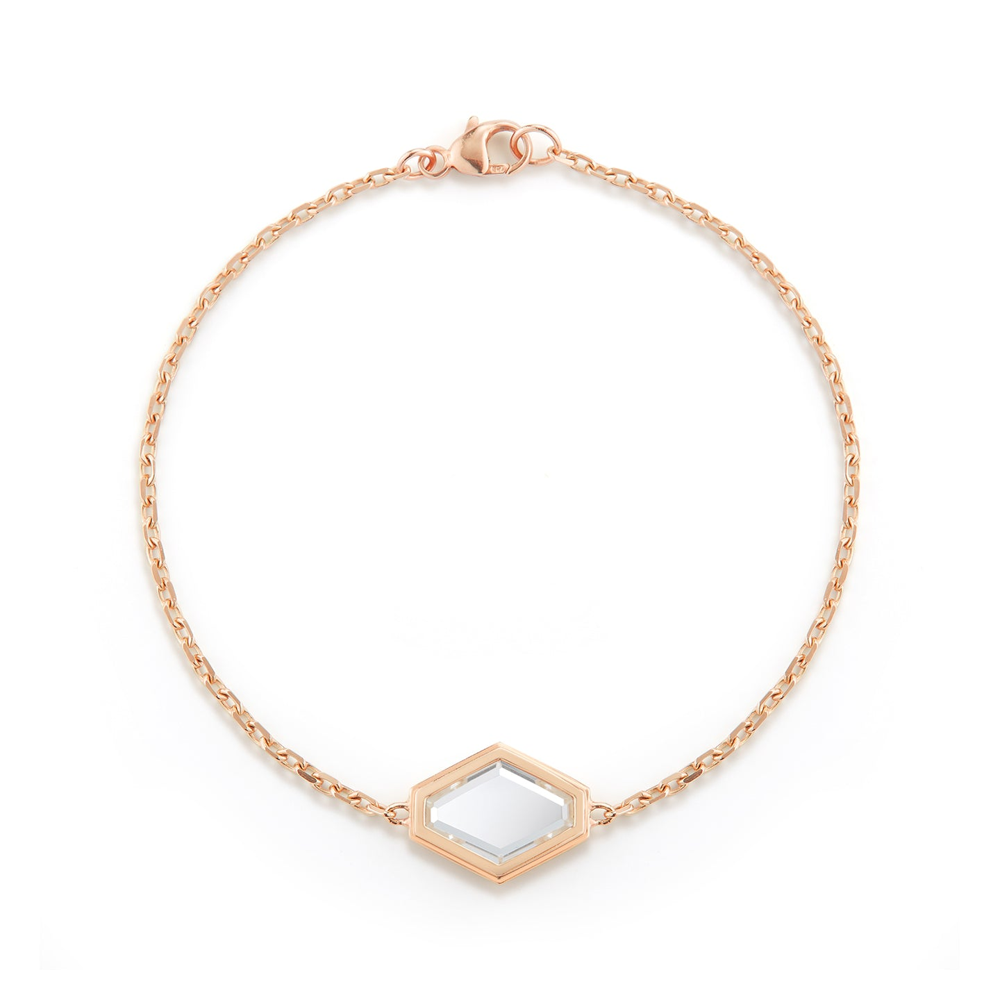 BELL 18K ROSE GOLD ROCK CRYSTAL HEXAGON BRACELET