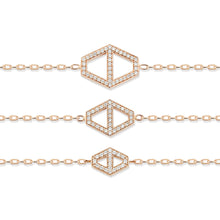 KEYNES 18K LARGE SIGNATURE DIAMOND HEXAGON BRACELET
