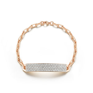 "CARRINGTON 18K ROSE GOLD & DIAMOND 1.5"" ID BAR BRACELET"