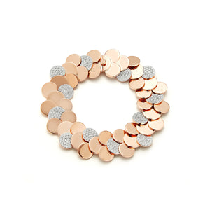 LYTTON 18K ROSE GOLD AND DIAMOND CIRCULAR DISC BRACELET