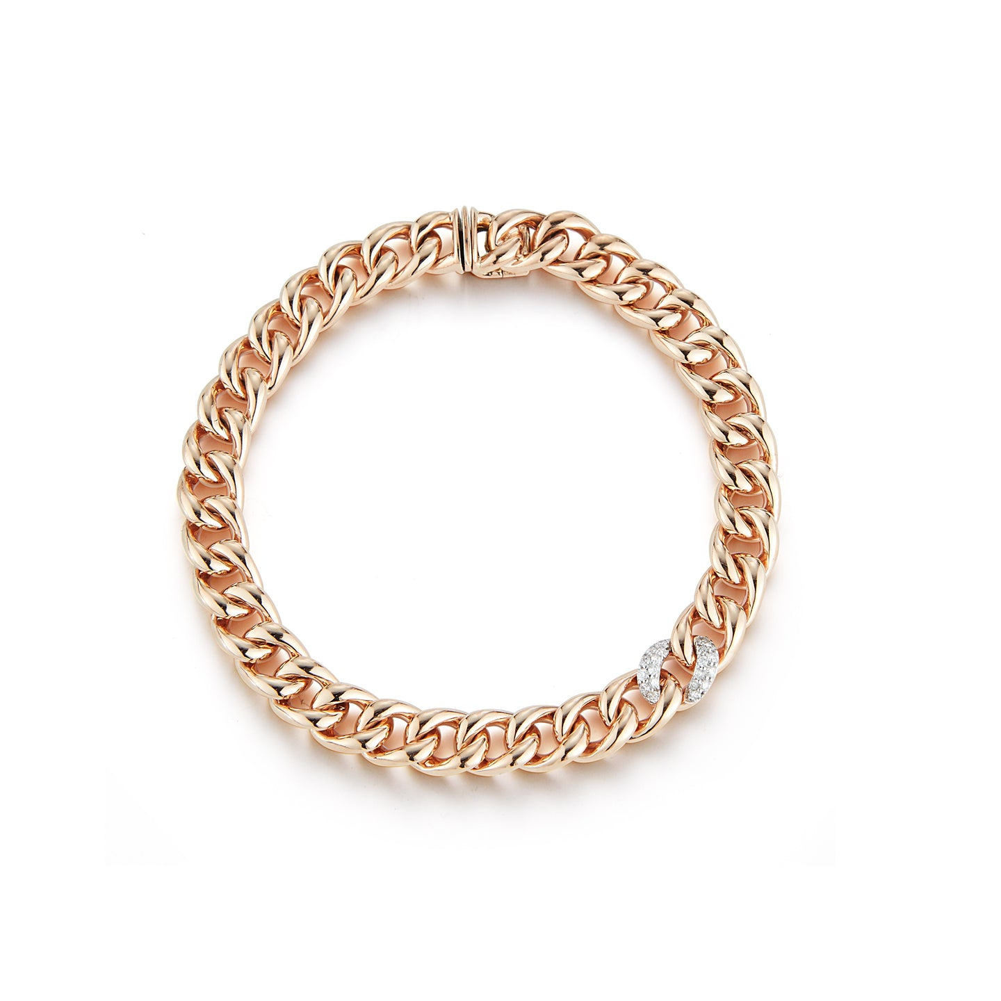 SAXON 18K ROSE GOLD SMALL 7.5mm CURB LINK AND SINGLE DIAMOND LINK BRACELET