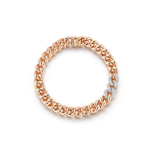 SAXON 18K ROSE GOLD SMALL 7.5MM CURB LINK AND THREE DIAMOND LINK BRACELET