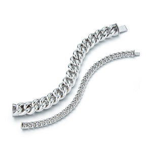 SAXON STERLING SILVER SMALL CURB LINK BRACELET
