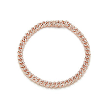 SAXON 18K ROSE GOLD ALL DIAMOND MINI CURB LINK BRACELET